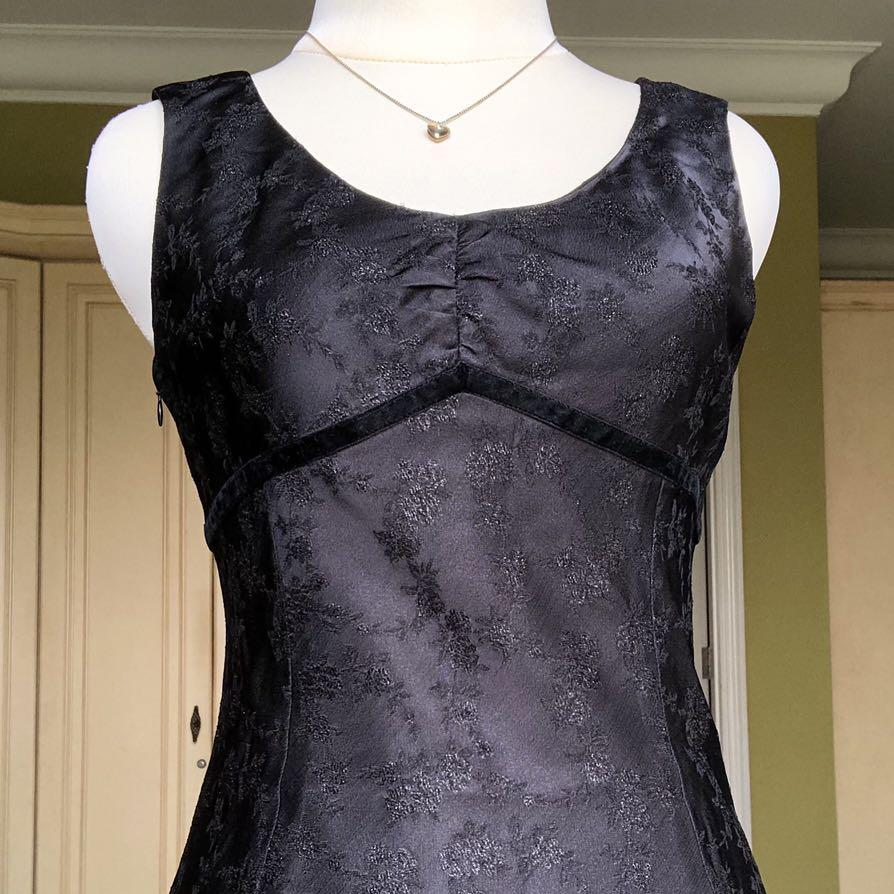 Floral Satin Sweetheart Black Dress party