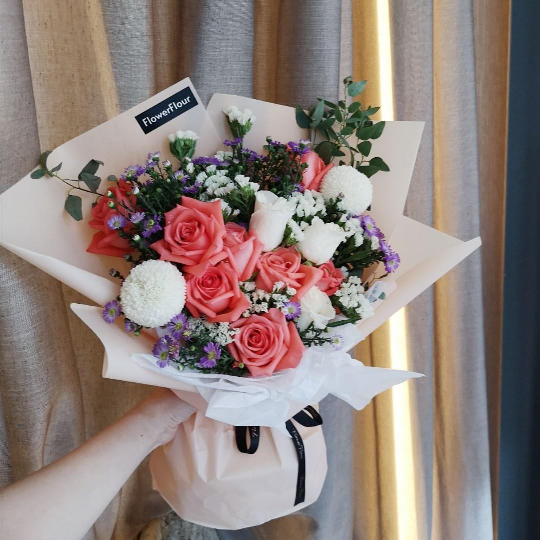 Flower Bouquet Rose Gift Anniversary Birthday Get Well Soon Congratulation Flower Delivery Gardening Flowers Bouquets On Carousell