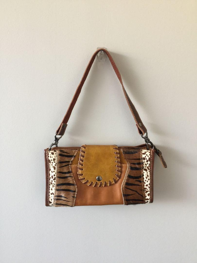 Genuine leather animal print purse