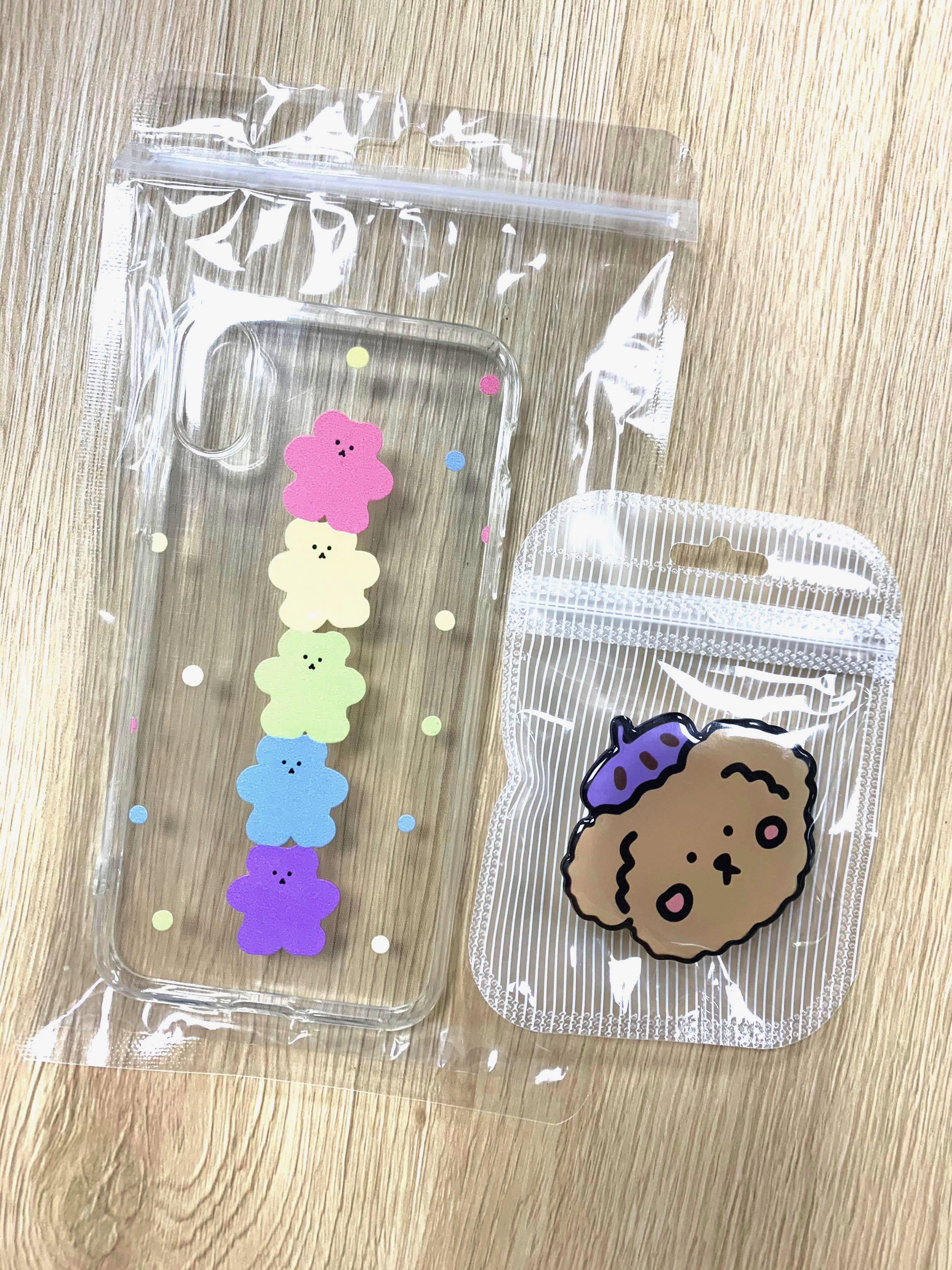 iPhone X/Xs 可愛手機殼+紫帽小熊折疊支架