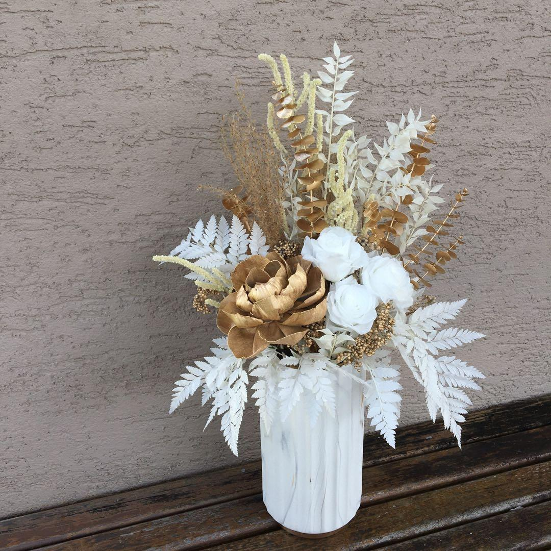 Madeinsg Dried Floral Arrangement Home Decor Vase White From 148 Gardening Flowers Bouquets On Carousell