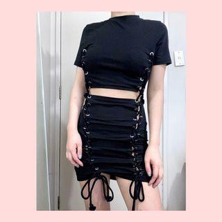Missguided black lace up cut out mini dress