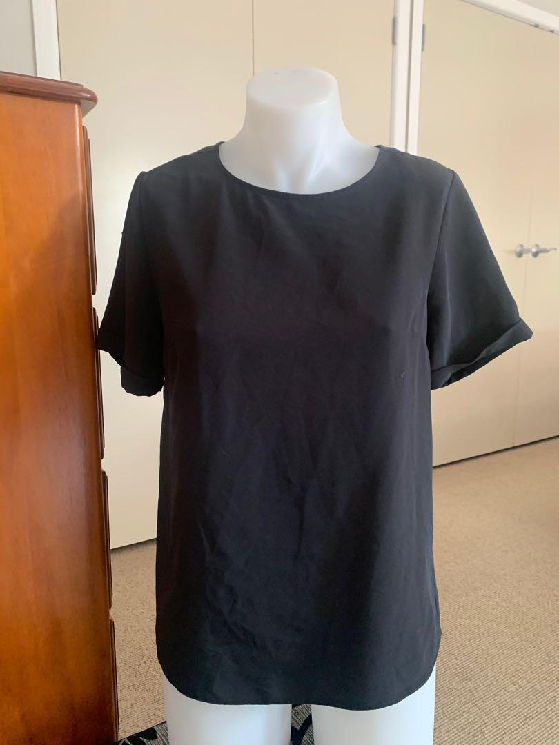 Plain black work top