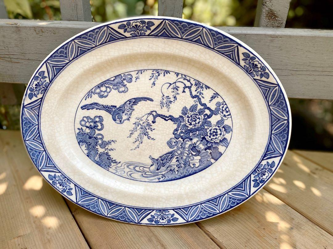⭐️Rare 1940's Vintage Bristol Mallard ,England,Serving platter in stunning blue and white