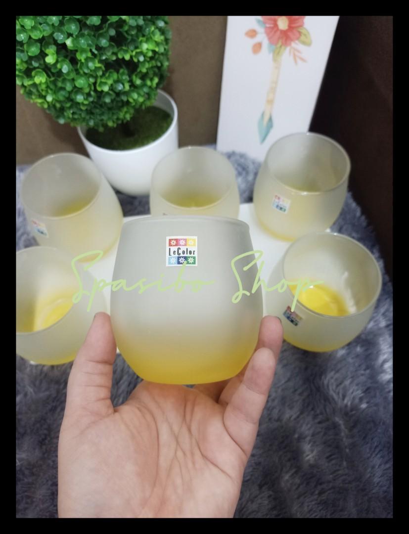 Vintage glassware Gelas minum 6 pcs Retro  Le Color drinking glass