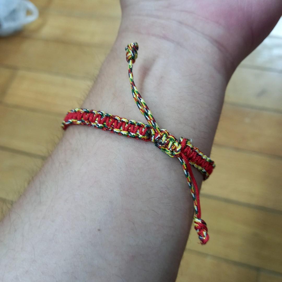 金紅綠手作編織幸運手環