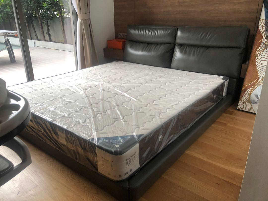 Brand New Full Leather Low Bed Frame With Mattress Furniture Beds Mattresses On Carousell