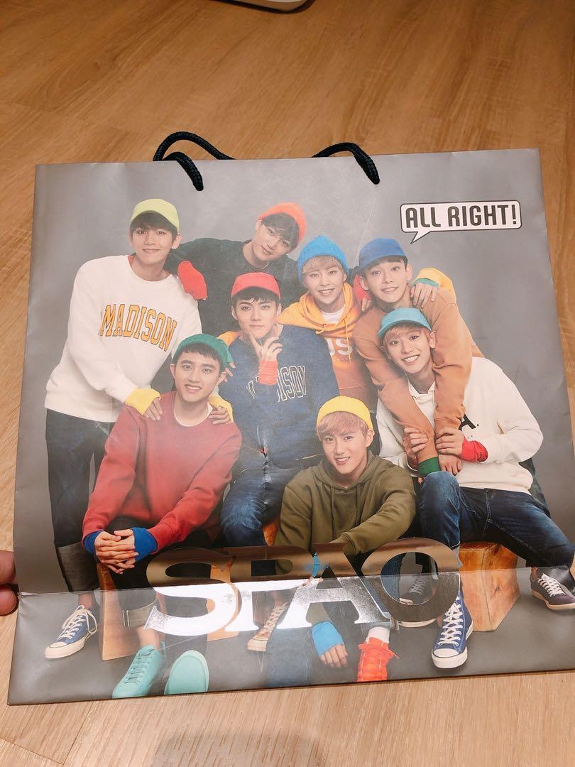 EXO 韓國SPAO紙袋