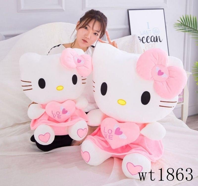 Hello Kitty stuff toys available in 35 cm,45 cm, ,60cm,80 cm.but different prices.The price that I posted was 35 cm.350