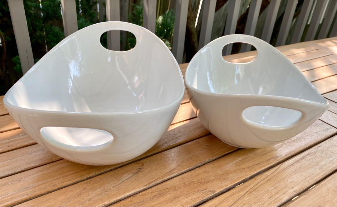 JUST REDUCED .....2 NEW white oval shaped bowls with handles