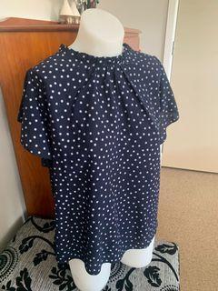 Polka dot high collar blouse