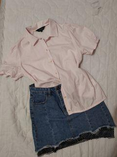 Set. Baby Pink Top with Skirt