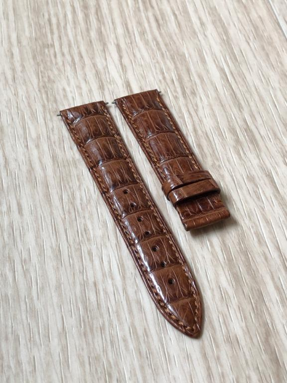 20mm Brown Alligator/Crocodile Leather Watch Strap (Butterfly Clasp Type)
