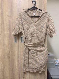 格紋綁帶造型連身裙
