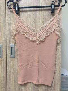 粉色 蕾絲無袖針織上衣