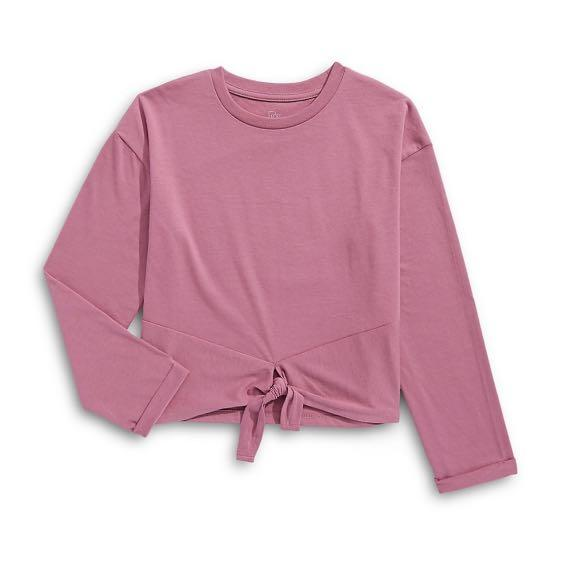 🎀 bnwt pink front tie long sleeve 🎀