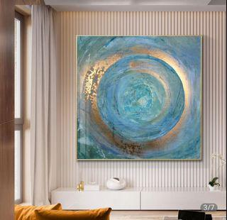 In stock -Abstract Gold Blue Canvas Painting