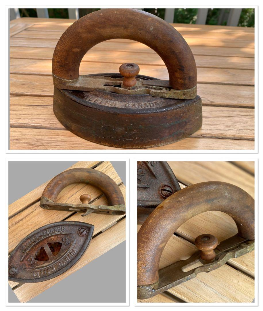 "****Antique cast iron iron with removable wooden handle Written on it is ..... ""Taylor-Forbes,Guelph,Canada"" From an old cottage on Lake Rosseau,Muskoka"