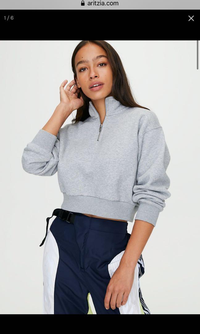 Aritzia TNA perfect 1/4 zip sweatshirt heather athletic grey size SMALL