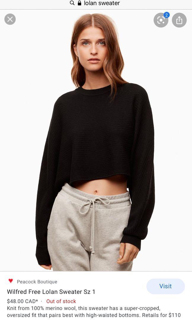Aritzia Wilfred free Lolan crop knit sweater BLACK size 2