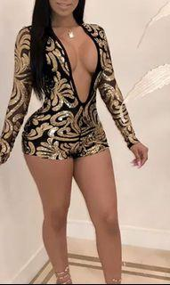 Black and gold sequins romper
