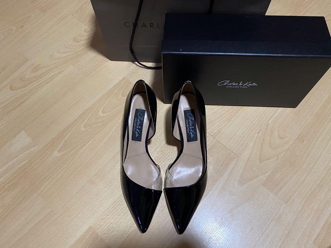 Black covered toe heels, Women's