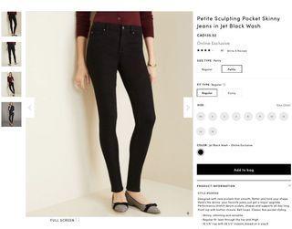 BNWT ANN TAYLOR Navy skinny jeans 4p