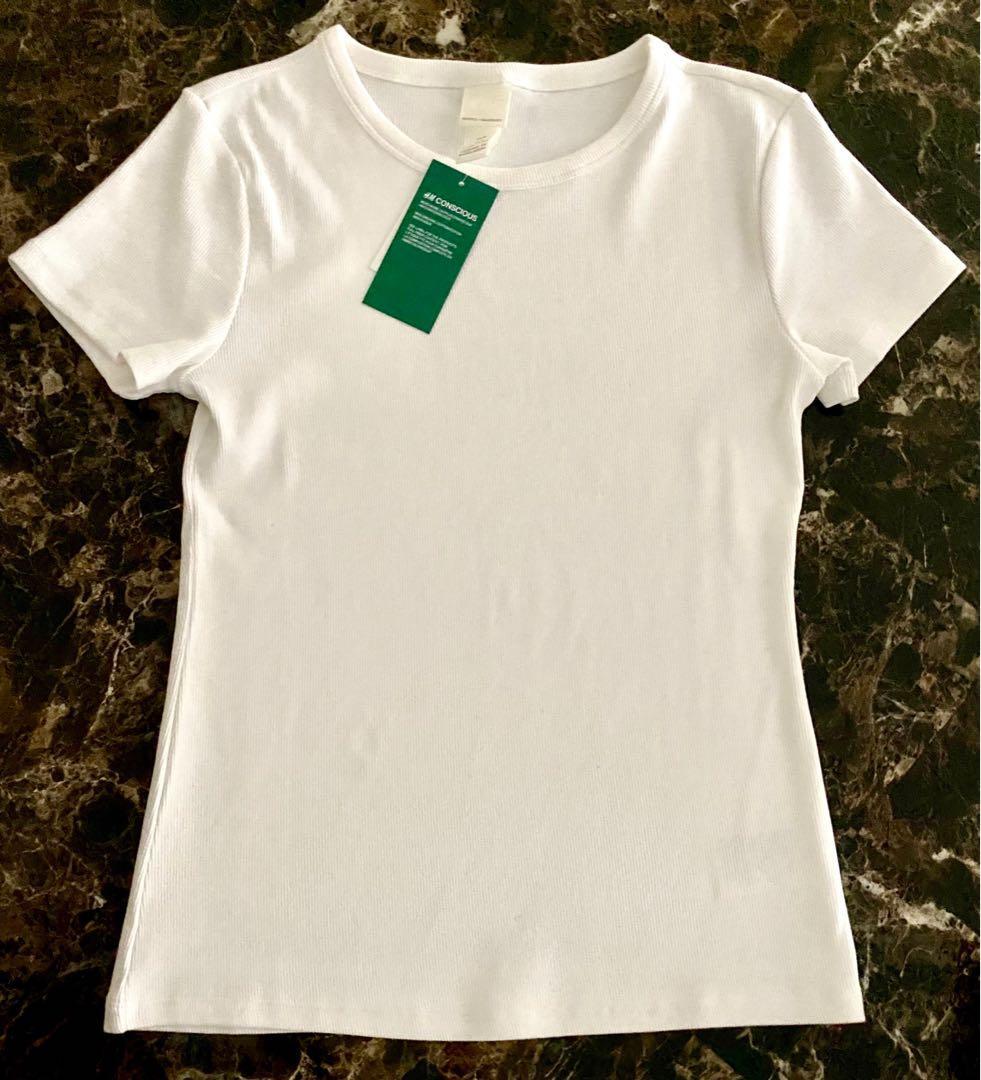 BNWT H&M WHITE RIBBED T-SHIRT
