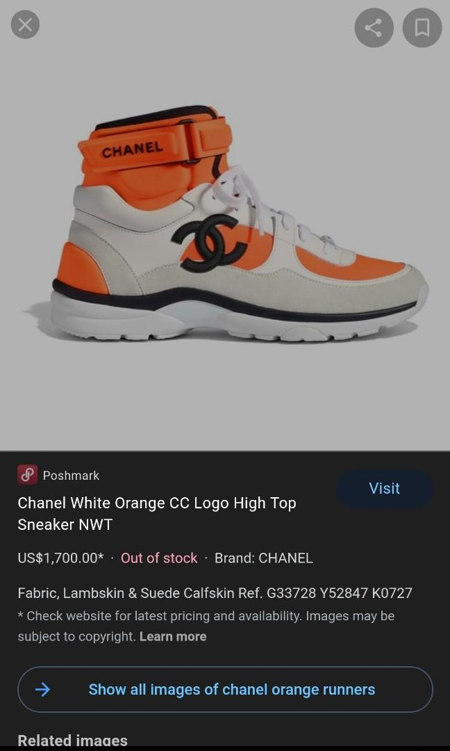 Chanel orange high top sneaker size 9