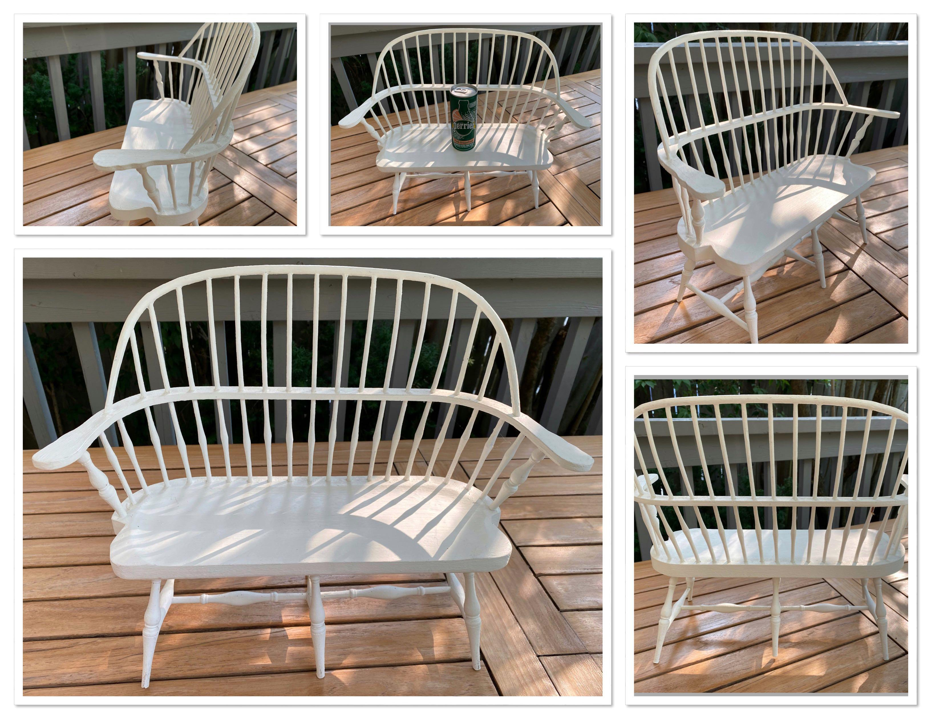 """Cute little """"DOLL SIZE""""Mennonite made wooden bench painted white purchased in St.Jacobs"""