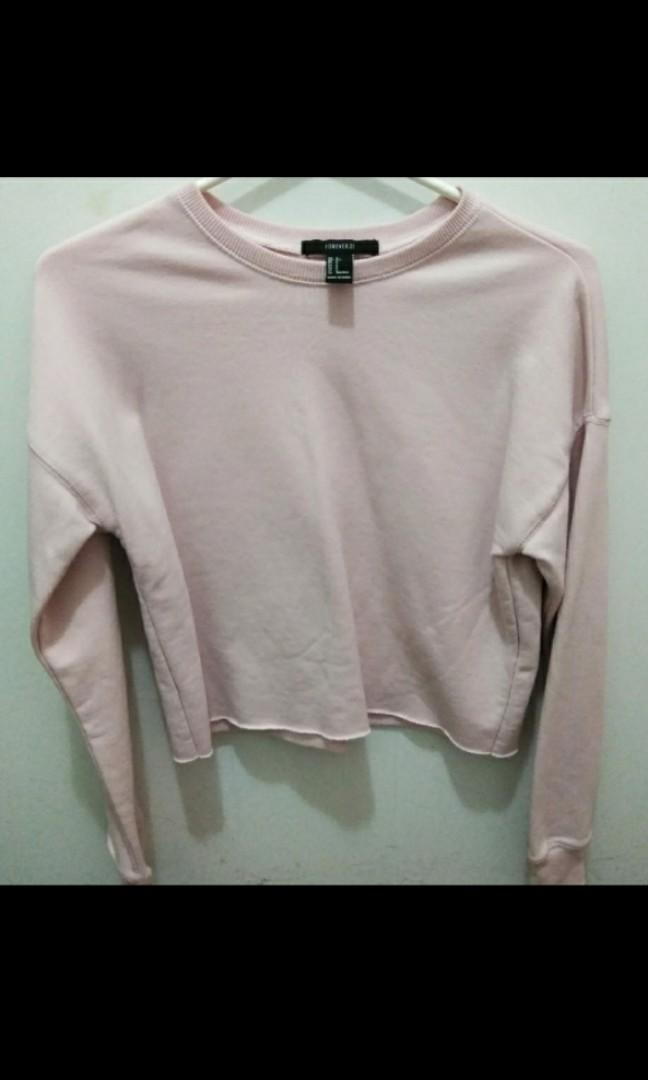 Forever 21 pink cropped sweater small