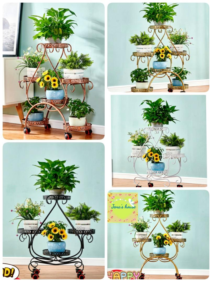 Instock Multiple Tier Metal Flower Rack Plant Stand Shelves Indoor Outdoor Multifunctional Storage Rack Decorative Planter Pot Display Stand Pot Planter With Wheels Display Shelving Gardening Pots Planters On Carousell