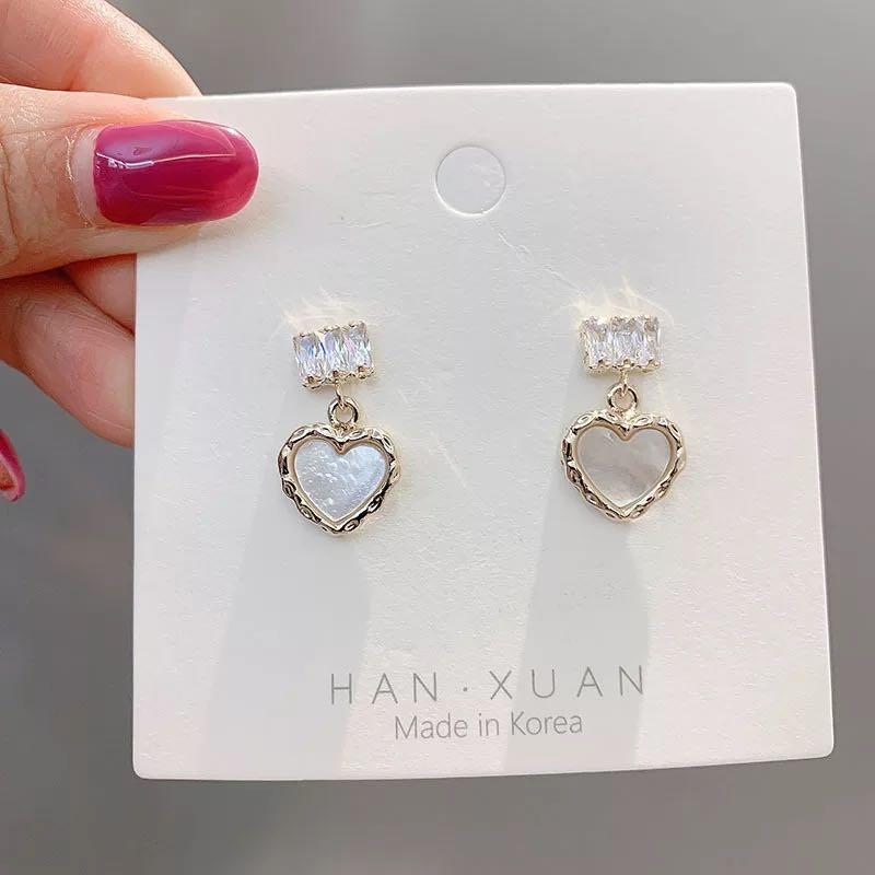 Love heart pearl drop earrings
