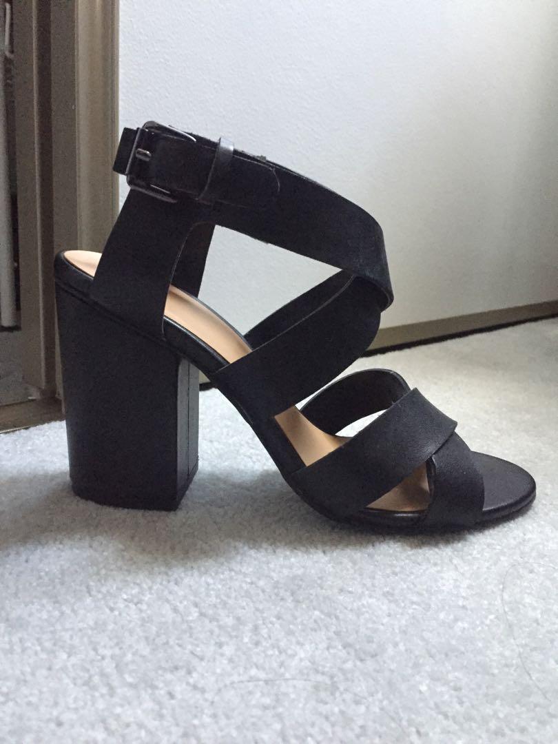 Nordstrom BP. - Black leather block heels (7.5)