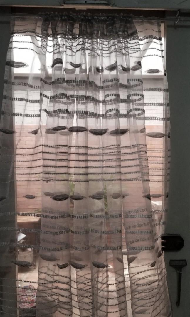Embroidered Sheer Curtain In Light Gray Color Php 175 00 Home Furniture Home Tools And Accessories On Carousell