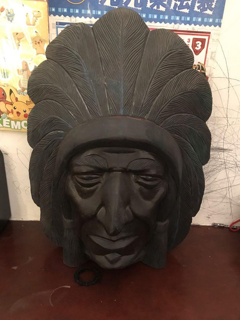 木雕~印地安人頭像