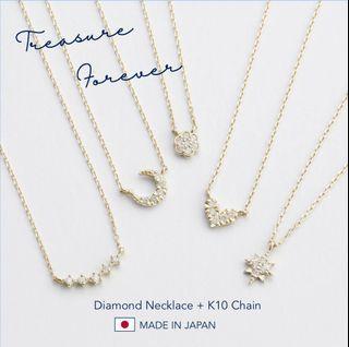 限量發售 日本製 🇯🇵10K鑽石頸鏈  Diamond Necklace + 10K chain