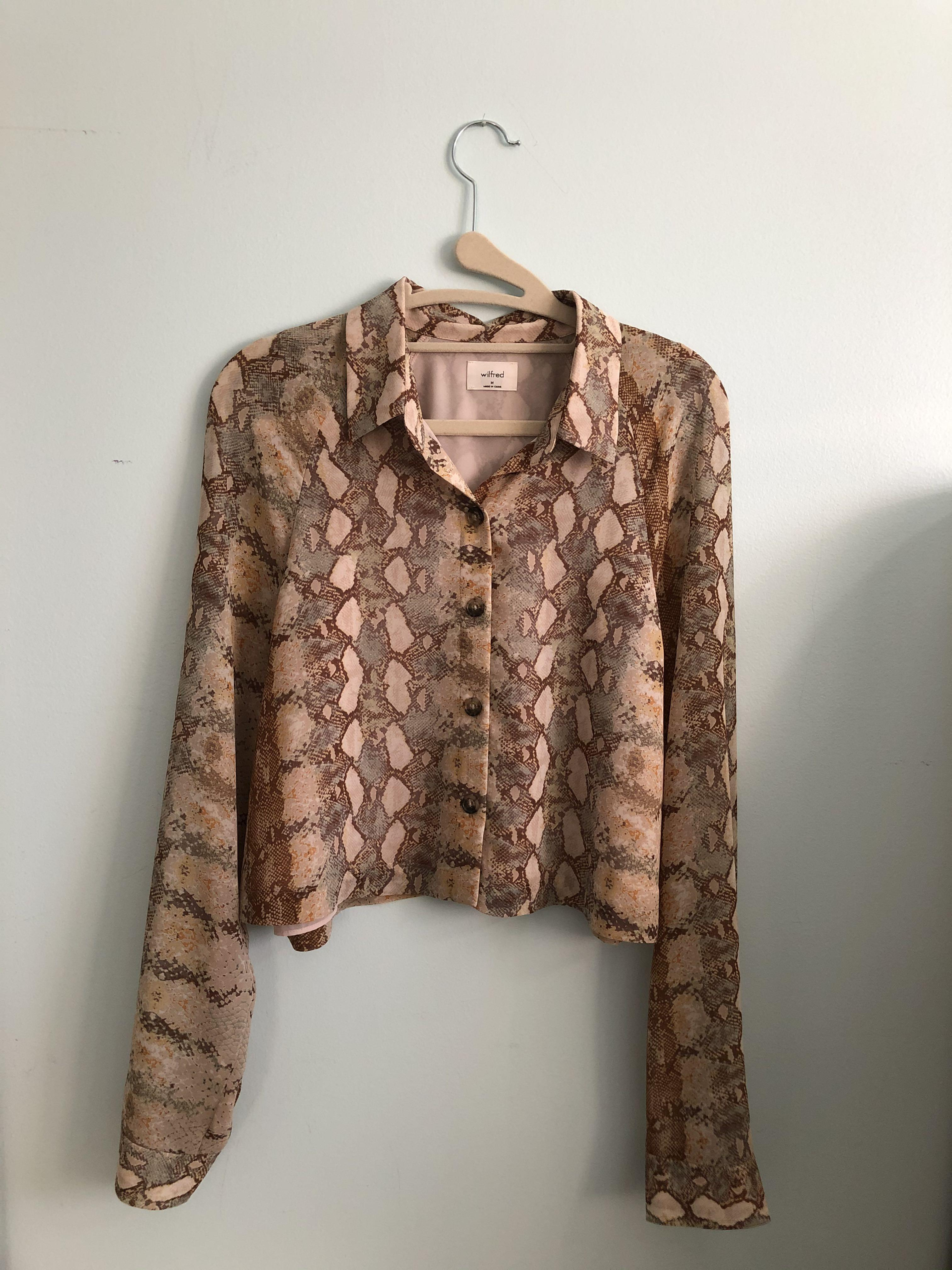 Aritzia snake print button down shirt