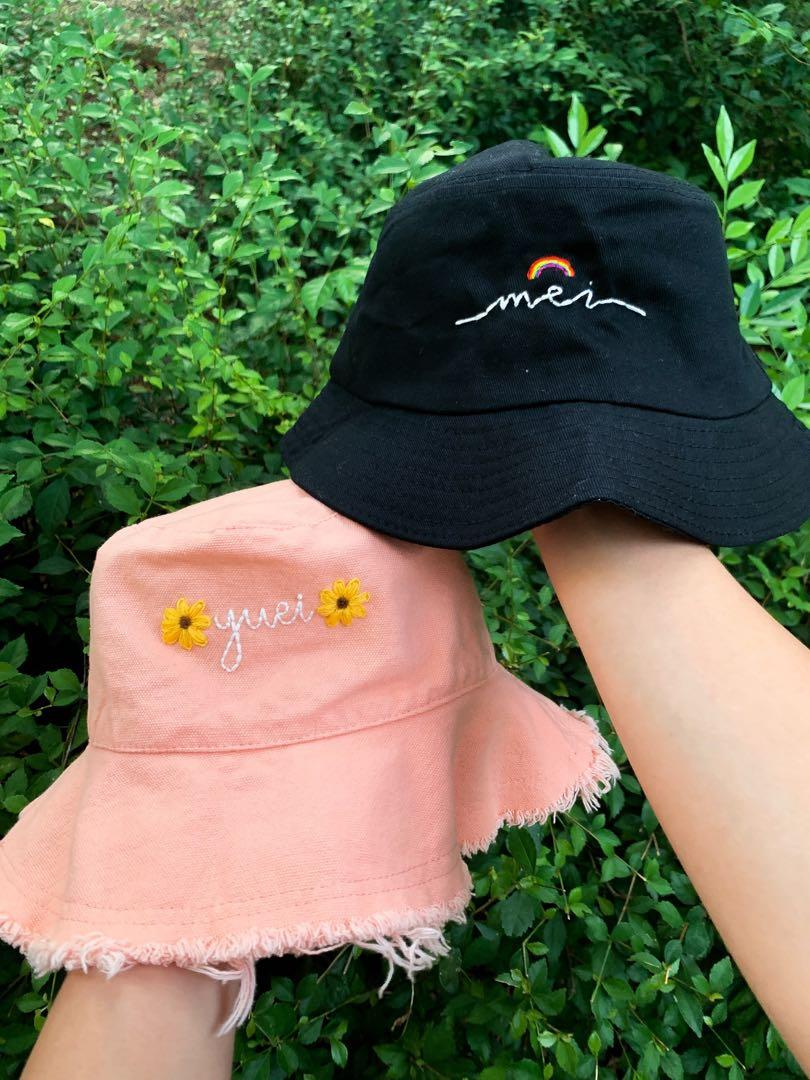 Bucket Hat Embroidery Women S Fashion Accessories Caps Hats On Carousell