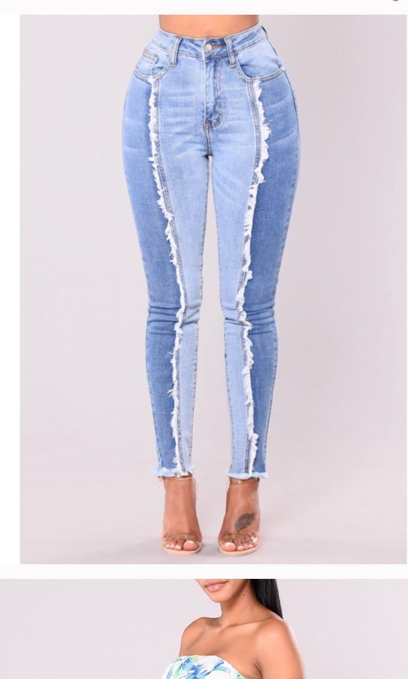 fashion nova two tone high waisted skinny jeans