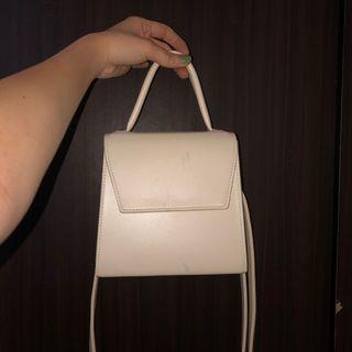 Faux Leather Cream Bag