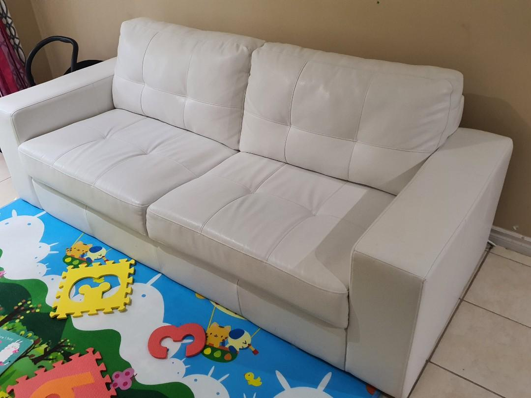 Faux Leather white couch