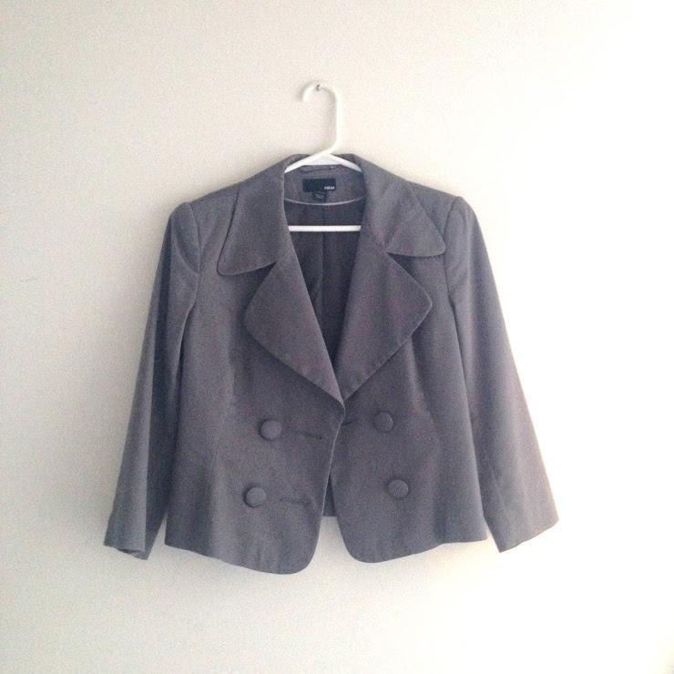 H&M Grey Crop Blazer Size 4