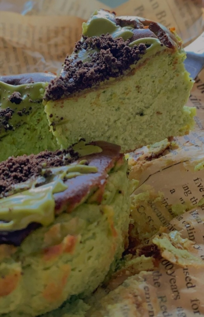 Matcha Basque Burnt Cheesecake Food Drinks Baked Goods On Carousell
