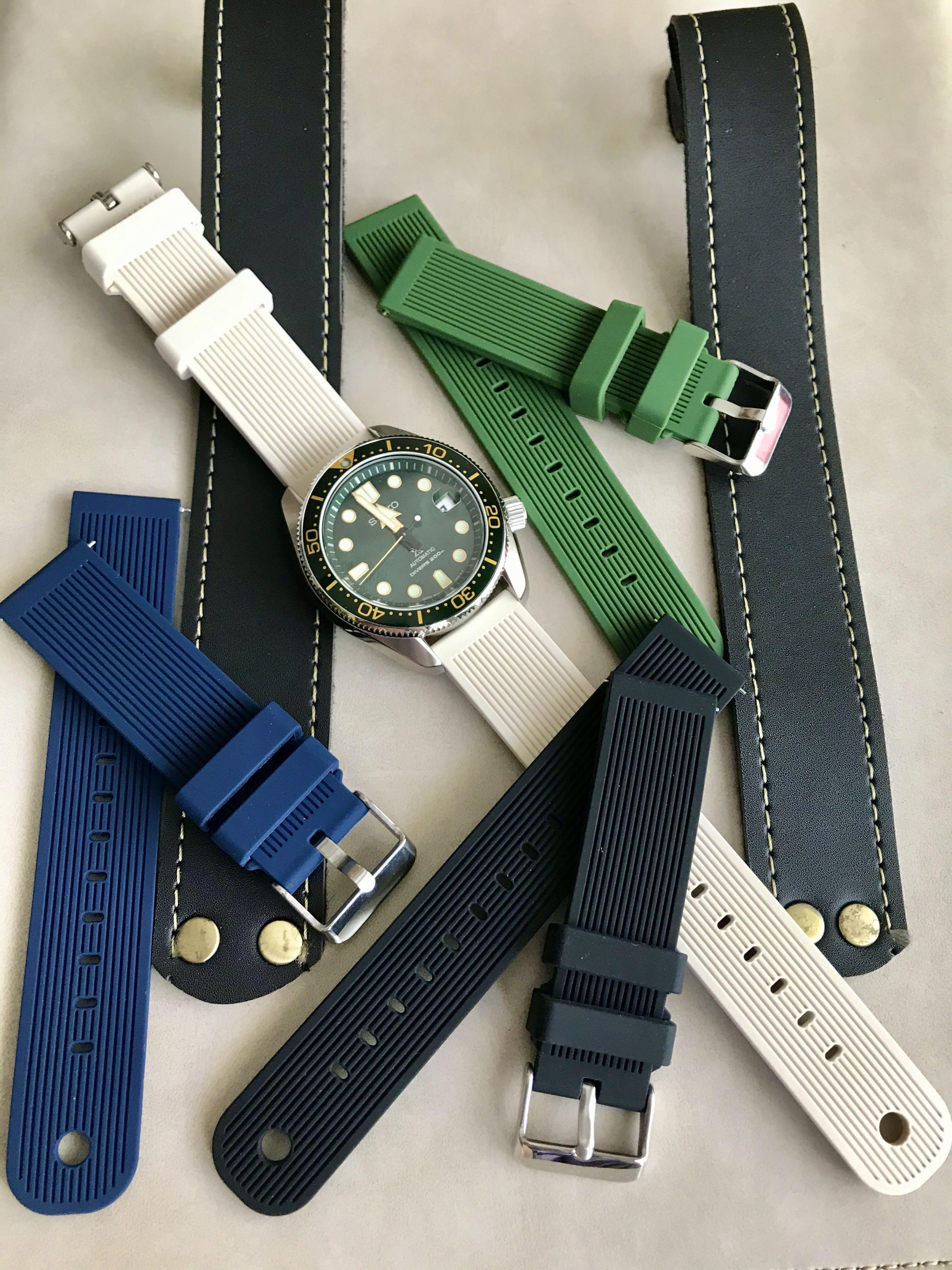 New high quality soft silicone watch strap 20mm for seiko omega rolex tudor
