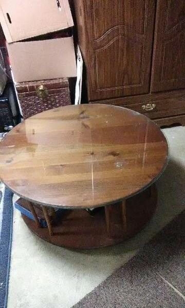 Oak spindle Lazy Susan round glass top coffee table