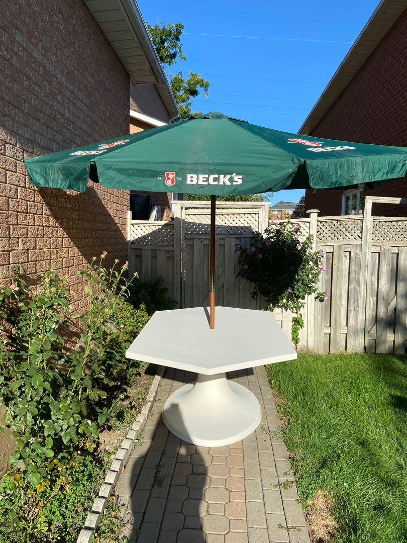 Patio table with large umbrella