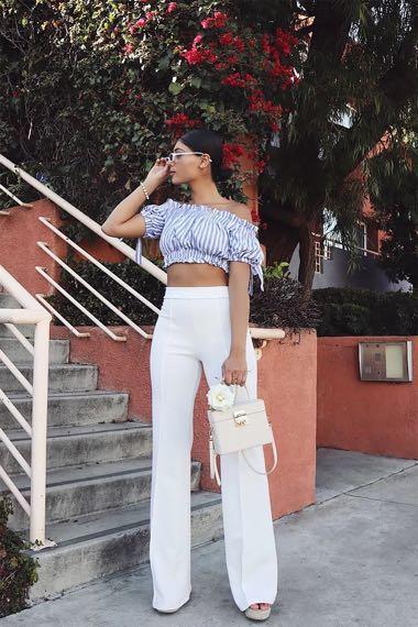 White High Waisted Dress Pants