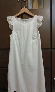 zara 二手 白色 荷葉袖邊 A -line 白洋裝