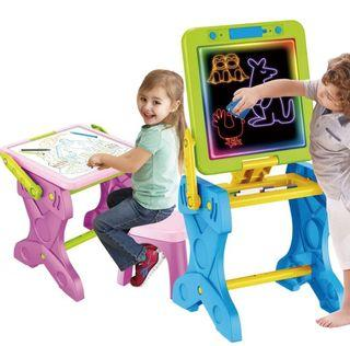 2 in 1 Fourenscent Stand Board Learning Table Drawing Board Easel Drawing Table Multifunctional Table with Lights and Chair